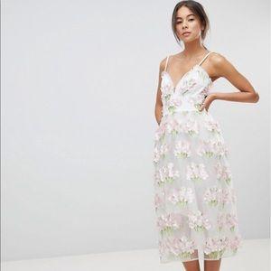 ASOS EDITION 3D Floral Cami Prom Midi Dress